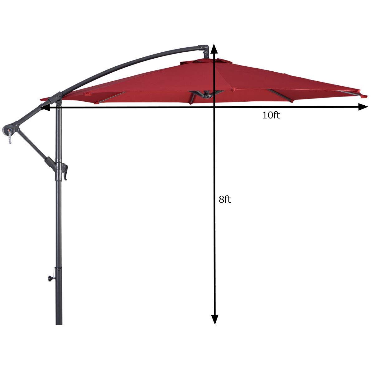 Tangkula Patio Umbrella 10ft Outdoor Sun Shade Umbrella Hanging Offset Crank W Corss Base 8 Rips Steel Sturdy Frame Table Umbrella for Garden Pool Deck Market Umbrella Burgundy