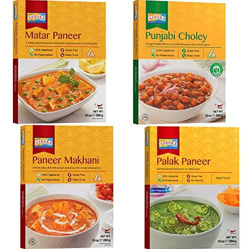- Ashoka - Paneer Combo (Matar Paneer, Paneer Makhani, Punjabi Choley, Palak Paneer), 4 PACK, Ready to Eat Meals
