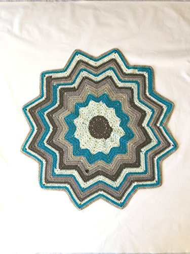 Hand Crocheted Baby Afghan - Twelve Point Star Crocheted Baby Afghan - Handmade - Ascending and Descending Blue and Grey - Perfect Gift - Stroller Blanket - Ready to Ship - Blue and Grey