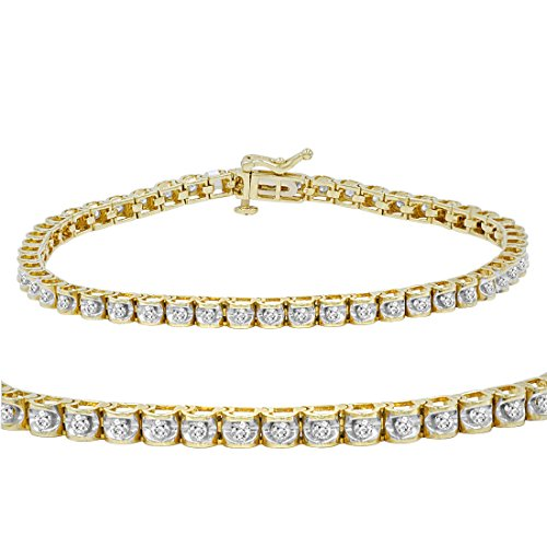 Diamond Womens Tennis Bracelet - AGS Certified 1 ct tw Diamond Tennis Bracelet in 14K Yellow Gold 7 inch