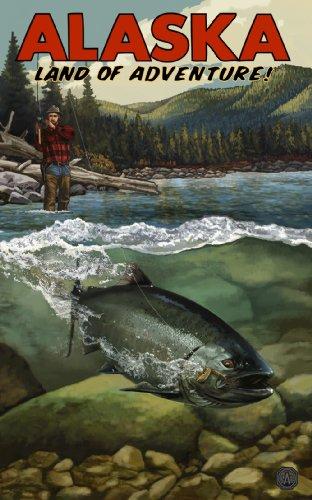 Northwest Art Mall Alaska Land of Adventure Salmon Run Artwork by Paul A. Lanquist, 11 by - Mall Lands South