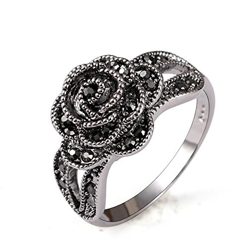 Yfnfxl Vintage Fashion Ring Silver Marcasite Flower Crystal Cocktail Statement Rings for Women