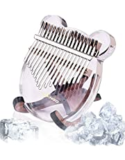 Kalimba 17 Keys Crystal Clear Thumb Piano with Eva Carry bag, Transparent Acrylic Mbira Finger Piano, Portable Musical Instrument Gifts for Kids Adult Beginners (Clear)