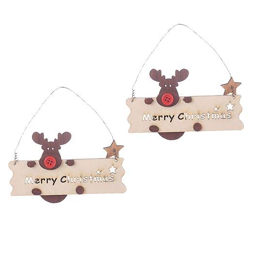 LIOOBO 2 Piezas Feliz Navidad Carta Ornamento Cartel de ...