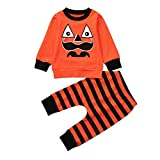 SUNTEAMO Newborn Baby Halloween Cartoon Striped Print T-Shirt Tops+Pants Set Clothes (Orange, 90)