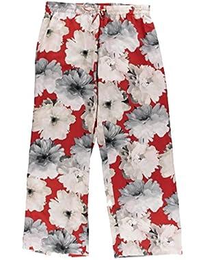 Calvin Klein Womens Chiffon Floral Print Lounge Pants