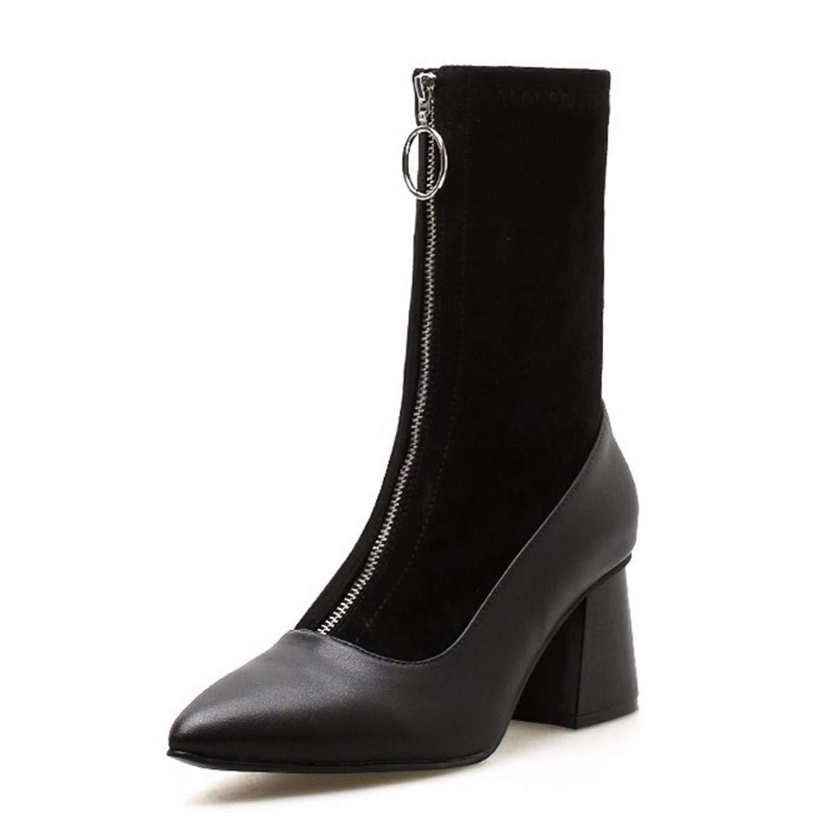 LBTSQ-Mode Damenschuhe Bei Mittleren U - Stiefel Mit Hohen 6 cm Spitze Modisch Retro Kurze Stiefel Wild Stiefel Martin Stiefel Flut.