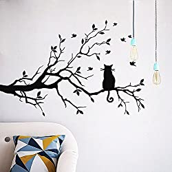 CUGBO Cat On Long Tree Branch Wall Decal Cat Window Art Sticker Removable DIY Vinyl Rooms Home Decor,Black