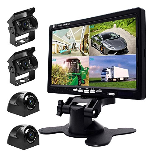 Quad Works Power Box (Podofo 9V-24V Car Backup Camera Kit, 7 Inch HD Quad Split Monitor + 4 x Waterproof IR Night Vision Front Rear Side View Cameras and 33ft AV Cables, Mirror/Normal Image)