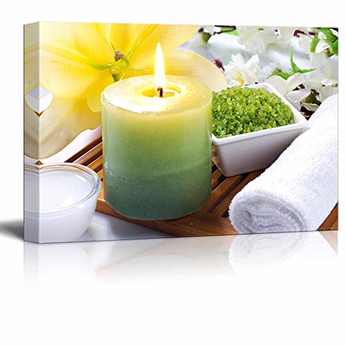Spa Still Life Aromatherapy with Candles Sea Salt and Flowers Wall Decor