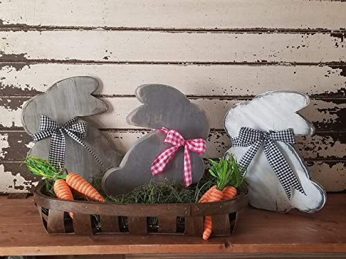 Wood bunny cutout, farmhouse easter bunny, rusitc bunny, spring centerpiece, shelf sitter, Easter bunny wooden ()