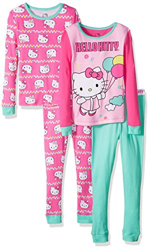 Hello Kitty Girls' Big Balloon 4 Piece Cotton Sleepwear Set, Multi, 8]()