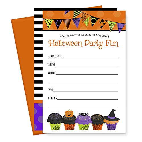 15 Halloween Party Invitation Cards and Orange Envelopes