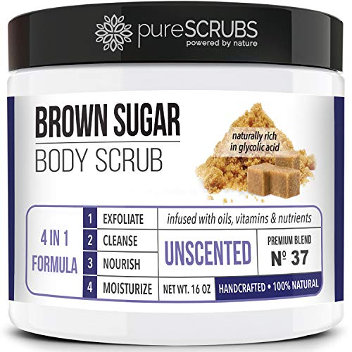 pureSCRUBS Premium Organic Brown Sugar UNSCENTED FACE & BODY SCRUB Set – Large 16oz, Infused With Organic Essential Oils…