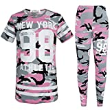 GUBA Girls New York Brooklyn 98 Athletic Camouflage T-Shirt Top Legging Two Piece Set 7-13 (11-12 Years, Baby Pink Camouflage)