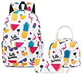 School Backpacks Teen Girls Backpack Cute Bookbags with Lunch bag Casual Daypack (Flamingo and Pineapple - White)