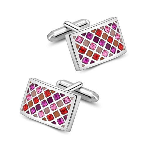 (Mr.Van Shiny Swarovski Crystal Cufflinks Red Elegant Glimmering Cuff Links Set Business Wedding Gifts for Him)