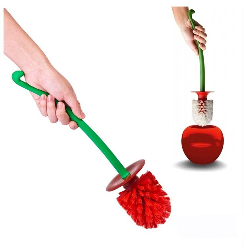 Cepillo de Limpieza de inodoros Innovador Accesorios de baño en Forma de Cereza Cepillo Good Grip Cepillo de tocador Compacto y Herramienta de Limpieza de Cabeza de Tenedor Entrega de Color al Azar likeitwell