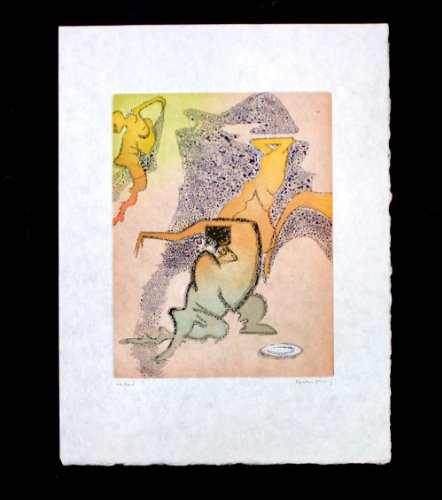Signed Original Etching (Dorothea Tanning(1910- 2012) Etching ORIGINAL in Color | Hand SIGNED and Numbered | Japon Archival Paper | Numbered Limited Edition out of 100, 1973 | En Chair et en or: Quoi de Plus | ART·docs™ Registered Documentation¹ + ART·care™ + ART·sure™ Lifetime Guarantee³ + ART·pack™)