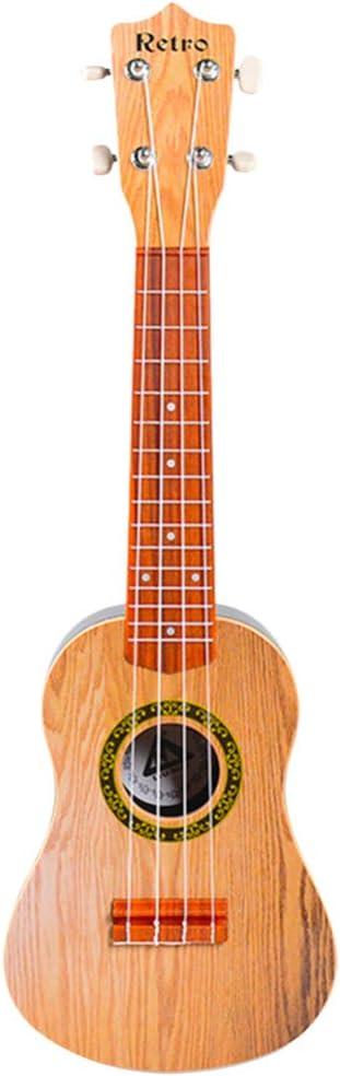TOYANDONA 1 Unid Guitarra Juguete Madera Maciza Instrumentos Musicales Juguete Retro Ukelele Guitarra Juguete Educativo Temprano Guitarra Juguete para Niños Estudiantes 21 Pulgadas