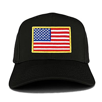 USA American Flag Logo Embroidered Iron On Patch Snap Back Cap - BLACK