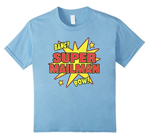 Kids Super Mailman T-Shirt Super Power Halloween Disguise Gif 8 Baby Blue