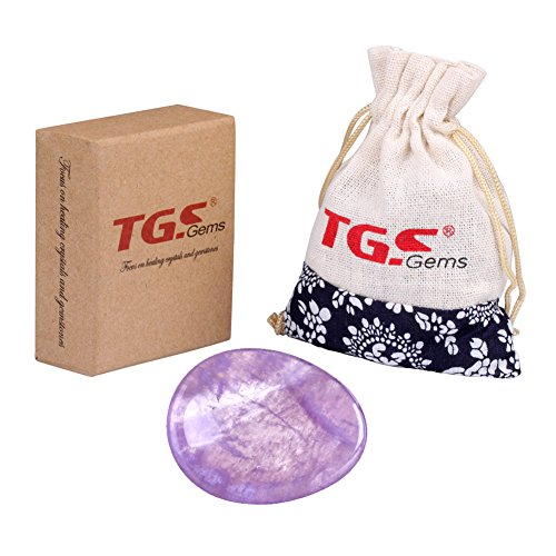 TGS Gems® Amethyst Carved Thumb Irish Worry Stone Healing Crystal Free Pouch Sold By 1pcs