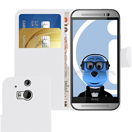 iTALKonline HTC One M8 (2014) One M8S (2015) White PU Leather Executive Multi-Function Wallet Case Cover Organiser Flip with Credit / Business Card Money Holder Executive Multifunction Leather