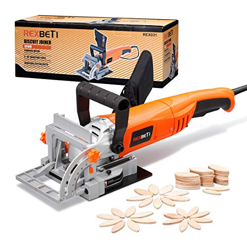 REXBETI Wood Biscuit Plate Joiner Kit with 4 Inch Tungsten Carbide Tipped Blade and 100pcs Wood Connecting Plates, Adjustable Fence and Angle Knob for Precise Positioning, Suitable for All Wood Type ()