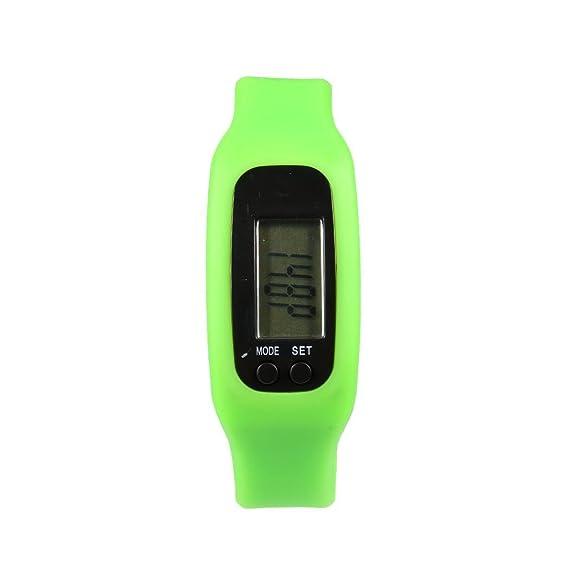 melysEU Banda de Silicona LCD Podómetro Digital Step Walking Correr Reloj Contador de calorías (Verde