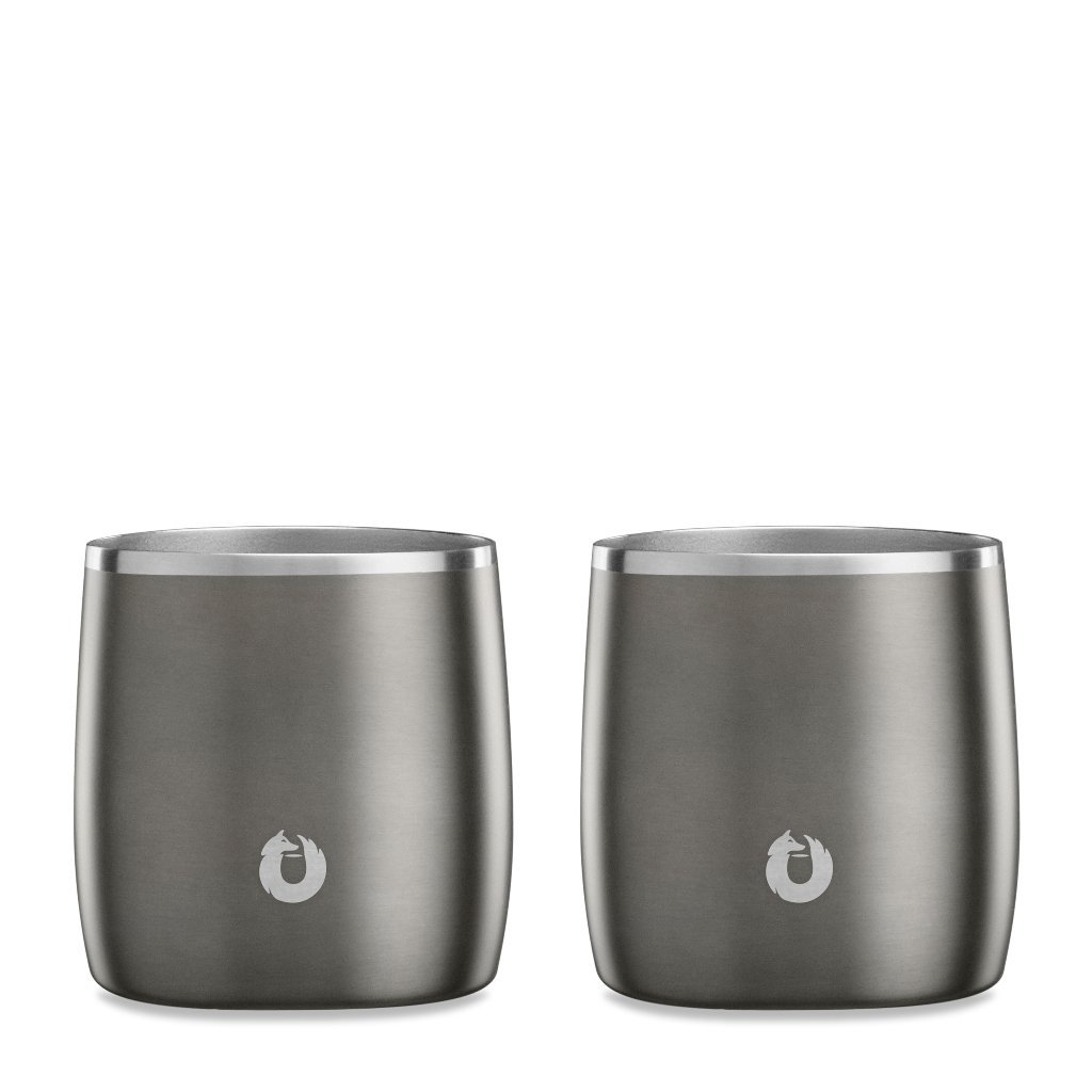 SNOWFOX Insulated Stainless Steel 11.5 oz. Rocks Glass, Set of 2, Olive Grey