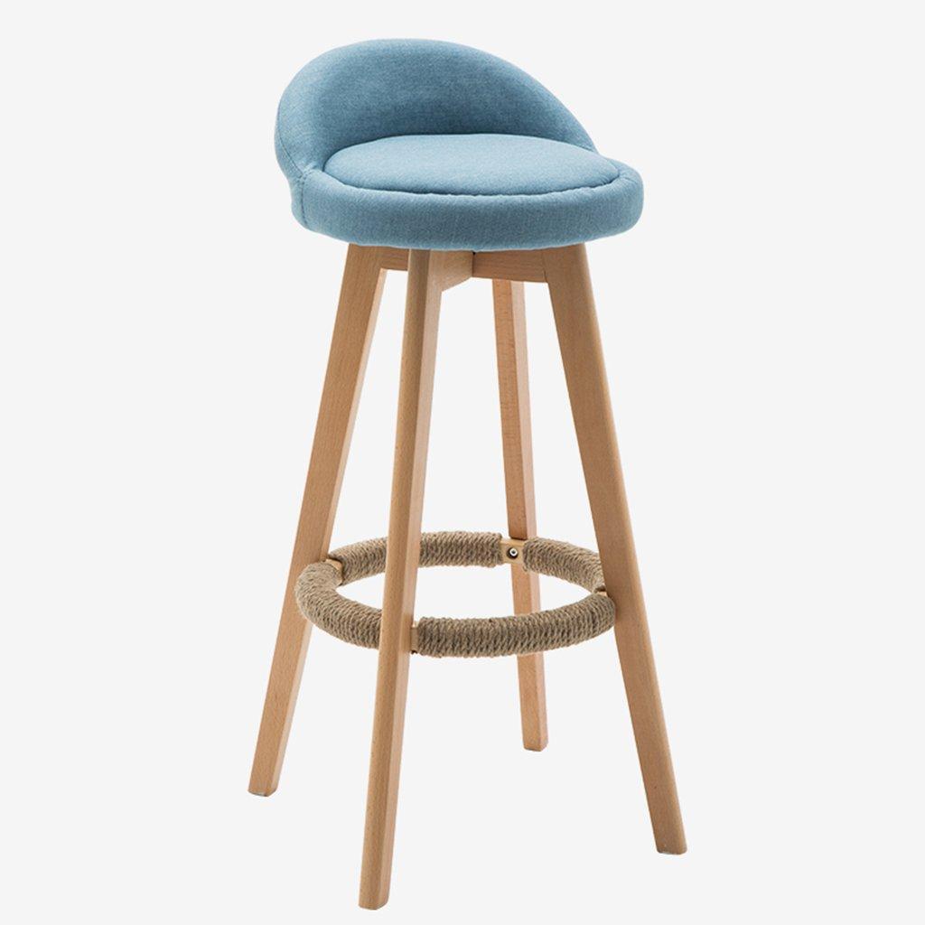 360回転バーチェア、家具ラウンドシートウッドバースツール、カフェ、バー、レストラン、キッチン用の椅子,Blue B07F8SVT4G Blue Blue