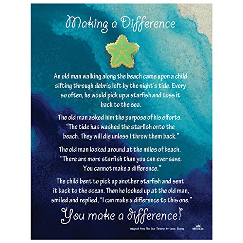 - Starfish Poem Story Lapel Pin Token of Appreciation and Recognition Making A Difference (1) Seafoam Green