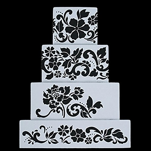 Fondant Cake Decorating Stencil Royal Icing Template for 4 Layers' Cake (Cake Stencil Set)