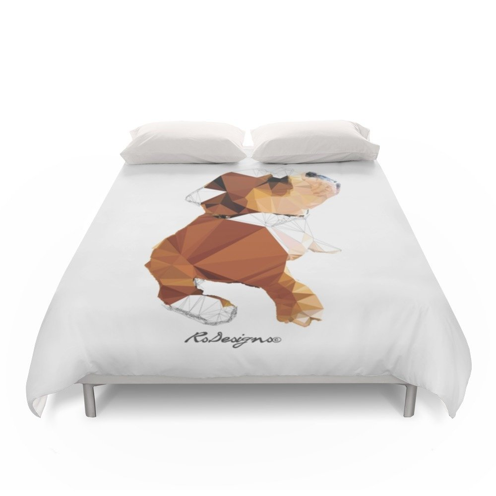 Society6 Geometric Animal - Bulldog Puppy Duvet Covers Full: 79'' x 79''