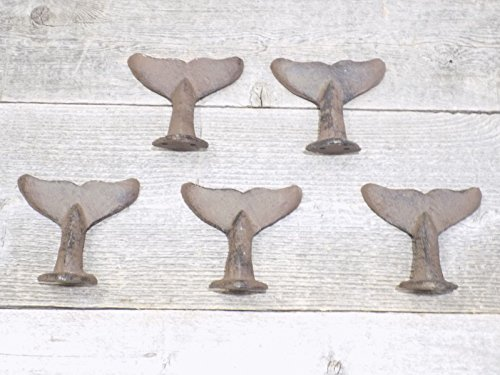 5 Cast Iron Whale Tail Hooks Or Drawer Pulls Coat Hat Closet Hall Tree