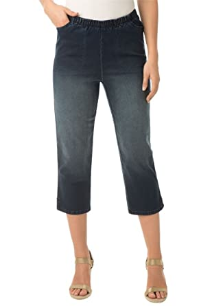 Women's Plus Size Petite Capri Pull On Denim at Amazon Women's ...