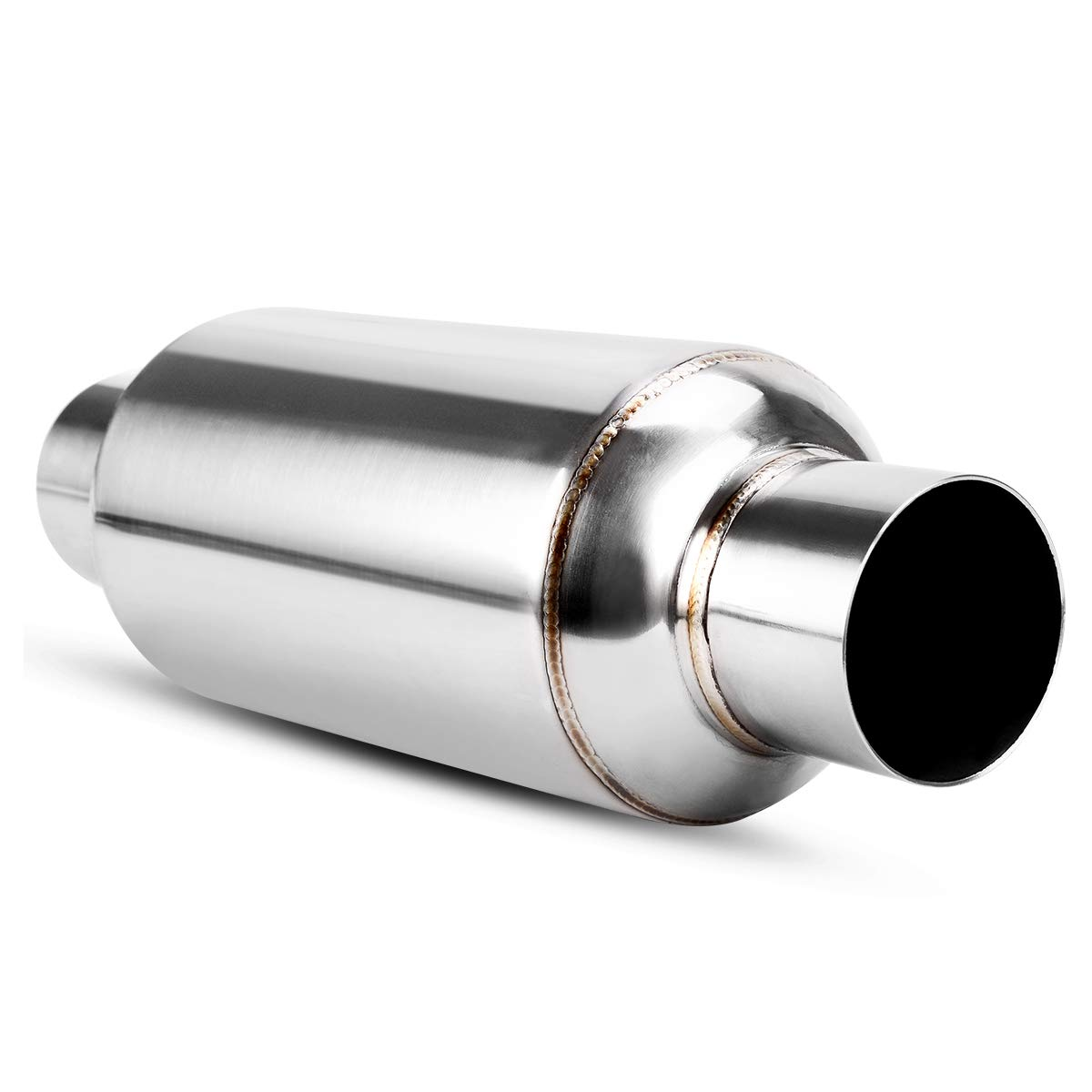2.25 Inch Inlet//Outlet Muffler AUTOSAVER88 Universal Stainless Steel Chrome Exhaust Resonator 12 Overall Length