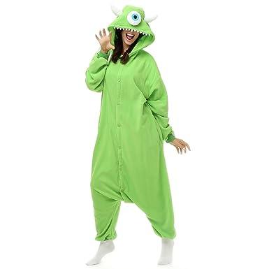 194a07c5c696 Adult Mike Wazowski Onesie Polar Fleece Pajamas Cartoon Sleepwear Animal  Halloween Cosplay Costume Unisex (L