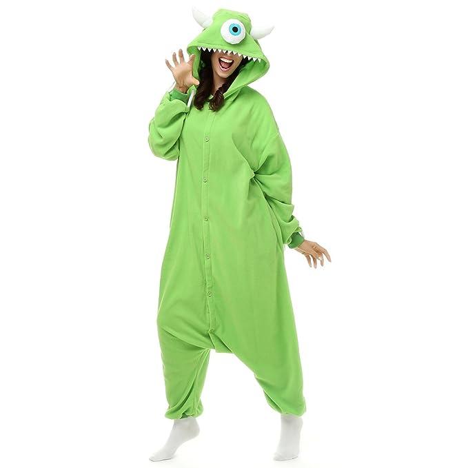 7fa259694f25 Amazon.com  Adult Mike Wazowski Onesie Fleece Cartoon Sleepwear Cosplay  Costume Unisex  Clothing