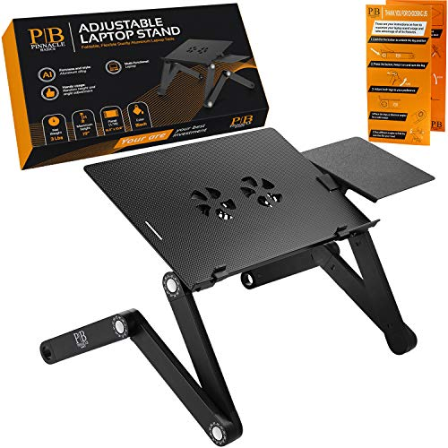 Adjustable Laptop Stand - Perfect Laptop Stand for Bed, Portable Standing Desk at The Office, Laptop Desk for Bed, Portable Laptop Stand - Sturdy Aluminum Desk Stand w/Anti-Slip Bars & Cooling Fans