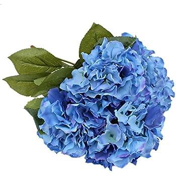 Luyue 5 Big Heads Artificial Silk Hydrangea Bouquet Fake Flowers Arrangement Home Wedding Decor Dark