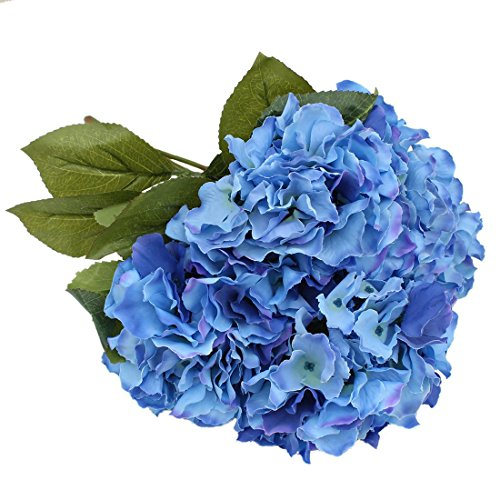 Luyue 5 Big Heads Artificial Silk Hydrangea Bouquet Fake Flowers Arrangement Home Wedding decor (Dark Blue)