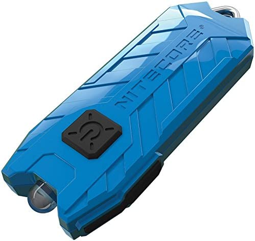 Image of a blue Nitecore mini keychain flashlight with rugged design.