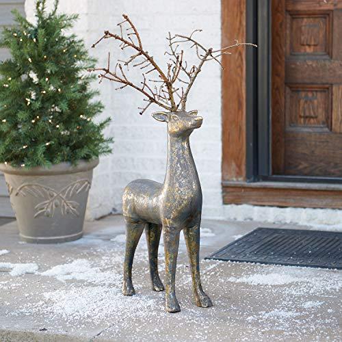 ART & ARTIFACT Rustic Deer Sculpture - Indoor Outdoor Holiday Decor Brass Finished Aluminum