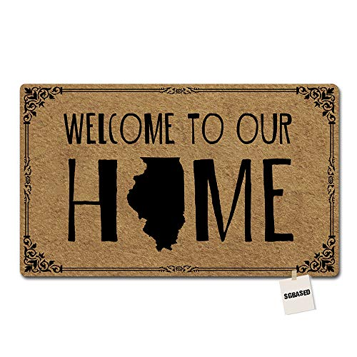 SGBASED Doormat Welcome to Our Home Door Mat Illinois State Welcome Mat Entrance Floor Mat Rubber Non Slip Backing Entry Way Doormat Non-Woven Fabric (23.6 X 15.7 Inches) ()