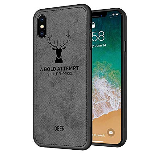 Reader Digital Book Cover - Wenjuan Phone Case,Protective Luxury Slim Fabric Denim Color Texture Soft TPU 3D Cloth Case Cover 6.1Inch\6.5Inch\5.8 Inch for Apple iPhone XR\ XS Max\XS (for iPhone Xr 6.1inch, Gray)