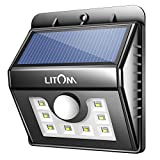 LITOM Solar Lights Outdoor, Motion Sensor Light Wireless Solar Powered Exterior Lighting for Front Door, Yard, Garage, Deck-Black