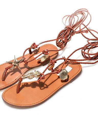 LFNLYX Zapatos de mujer-Tacón Plano-Talón Descubierto / Anillo Frontal / Mary Jane / Gladiador / Punta Abierta-Sandalias-Exterior / Vestido / Brown
