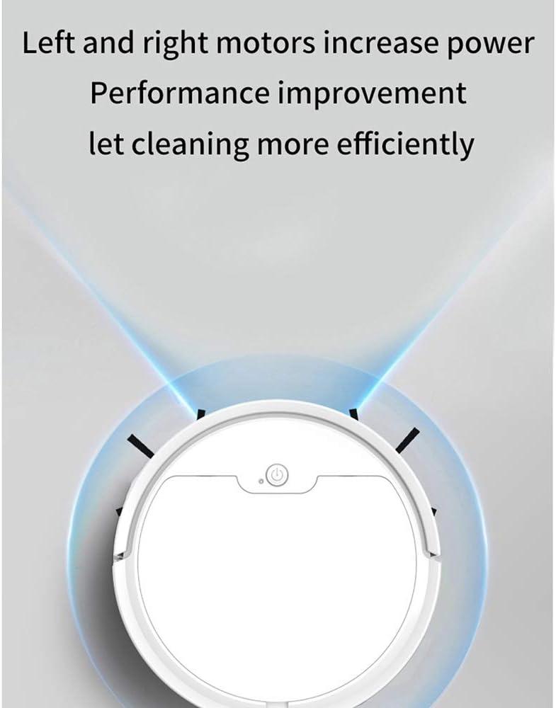 WSXD Robot Aspirateur 1800Mpa Aspiration Grand Tapis Mince Dustbin Fuselage Balayage et Nettoyage ampWet Mop Multiples Modes de Balayage Robot (Color : White) White